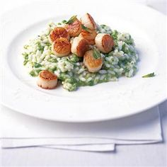 Seared scallops on pea and mint risotto Recipe | delicious. Magazine free recipes
