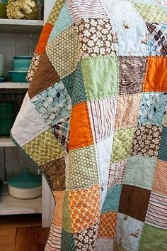 I love simple patchwork quilts.