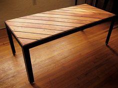 SLANT coffee table  gorgeous reclaimed wood  Douglas Fir and raw black steel welded base