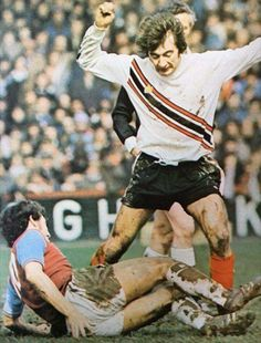 West Ham's Trevor Brooking tackles Stoke's Alan Hudson in a showcase for the great Admiral strips of the era