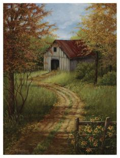 dorothy dent fall paintings | barn art on Pinterest | Oil Paintings, Red Barns and Painted Christmas ...