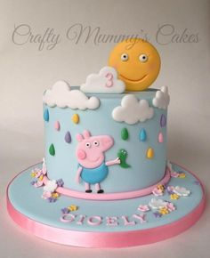 Peppa Pig boys birthday party - George Pig & his Dinosaur - Cake by CraftyMummysCakes (Tracy-Anne) Tortas Peppa Pig, Bolo Da Peppa Pig, Peppa Pig Birthday Cake, Birthday Cake Girls, Peppa Pig Cakes, Birthday Kids, Fondant Cakes, Cupcake Cakes, Pig Cupcakes