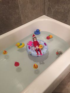 Elf on the shelf day 27!! Jingle Bell lounging in the bathtub!!