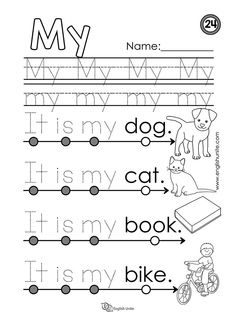 "Beginning Reading 24 – My – English Unite Beginning reading – My: Each worksheet focuses on one word, and once that word is learned, it is dotted out on all future worksheets. The focus word of this worksheet is the word ""my"". Sight Word Sentences, Sight Word Worksheets, Phonics Worksheets, Reading Worksheets, Learning English For Kids, English Worksheets For Kids, Phonics Reading, Kindergarten Reading, Kindergarten Sight Words"