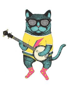 """Banjo Cat"" Dan Stevenson Brighton, England  #cat #cats #catart #kitten #kitty #kitties #art #illustration #drawing #banjo"