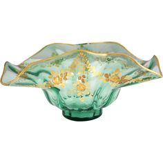 Victorian Hand Blown and Gilt Painted Glass Center Bowl