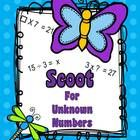 Scoot for Unknown Numbers  Finding an unknown product is fairly easy for students who have mastered multiplication and division facts.  (5 x 4 = ?)...