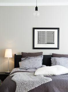 Black, grey, white bedroom