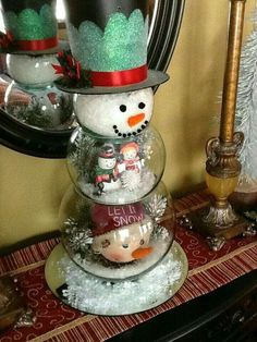 Image result for 3 fish bowls stacked snowman