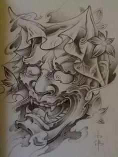 Japanese Tattoo Art, Japanese Tattoo Designs, Japanese Sleeve Tattoos, Oni Tattoo, Hanya Tattoo, Mask Tattoo, Tattoo Mascara, Body Art Tattoos, Tattoo Drawings