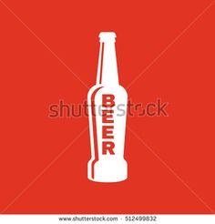 Bottle of beer icon. Beer and pub, bar symbol. UI. Web. Logo. Sign. Flat design. App.Stock vector