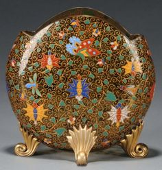 Moser Enameled Amber Glass Vase. circa 1885