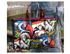 Classic Movie Monsters HANDMADE fully lined colorful OOAK Heavy Cotton Tote, READY TO SHIP by Whimsybags