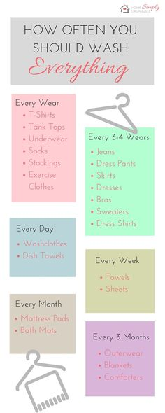 How Often You Should Wash Organisation, Clothing Organization, Organize Clothing, Laundry Schedule, Laundry Tips, Laundry Room, Cleaning Solutions, Diy Cleaning Products, Keep It Cleaner