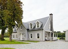 Georgian, Colonial, Exterior, Houses, Mansions, House Styles, Grey, Home Decor, Mansion Houses