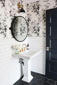 Black tile floor and white subway tile for bathroom remodel in powder room Bathroom Inspiration, Black Floor Tiles, Bathroom Wallpaper, Bathroom Renovations, Bathroom Flooring, Bathroom Design Small, Small Bathroom Remodel, Tile Bathroom, Bathroom Mirror