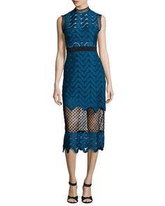 Scalloped Mixed-Lace Midi Dress, Teal by Self Portrait at Neiman Marcus.