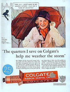 Colgate Ribbon Dental Cream ad, 1933