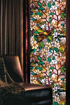 Buy New Magnolia Flower Floral Stained Window Film Privacy Textured Etched Static Cling Glass Film Home DIY Decoration at Wish - Shopping Made Fun Frosted Window Film, Stained Glass Window Film, Faux Stained Glass, Leaded Glass, Mosaic Glass, Window Glass, Glass Doors, L'art Du Vitrail, Flower Window