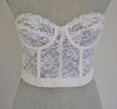 Vintage White Lace Bra Longline Low Back Vogue Bra  by EclecticLoveVintage