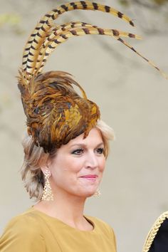 Pin for Later: The 34 Best Fascinators That Royalty Has Ever Worn  Princes Maxima of the Netherlands attended Prince Guillaume of Luxembourg's wedding in 2012 with a pheasant-feather-accented fascinator.
