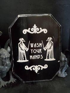 Gothic home decor bathroom decor wash your hands Halloween Dark Home Decor, Goth Home Decor, Boho Decor, Gothic Room, Gothic House, Gothic Living Rooms, Victorian Gothic Decor, Gothic Fairy, Gothic Bathroom Decor