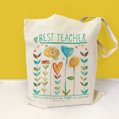 Best Teacher Bag, teacher thank you tote, thank you teacher gift, best Mum, Mom gift, Granny, Auntie gift, Nanny gift, best sister by AlicePalaceDesigns on Etsy https://www.etsy.com/uk/listing/529040001/best-teacher-bag-teacher-thank-you-tote