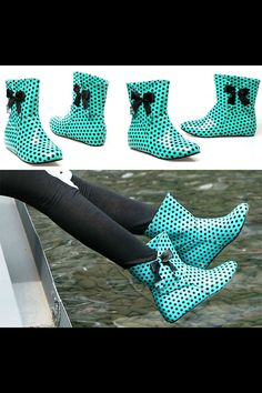 Cute Polka Dot Rain Boots on Etsy. Probably the cutest rain boots I've ever seen!!! In love! ❤️