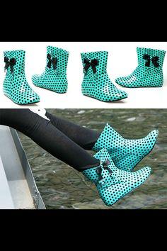 Cute Polka Dot Rain Boots on Etsy