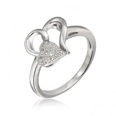 Sterling Silver Double Heart Ring -- super sweet.