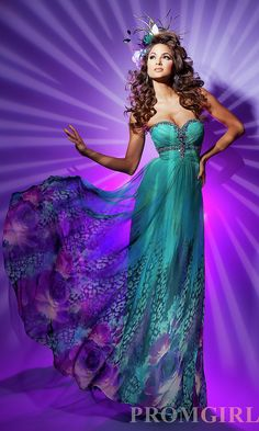 green print strapless gown by paris