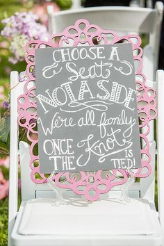 Ceremony Seating sign / http://www.himisspuff.com/rustic-wedding-signs-ideas/