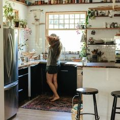 Houseplants Kitchen shelves Emily Katz Portland OR Gardenista