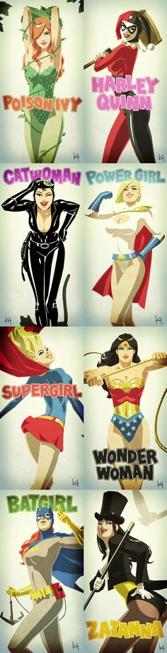 Cool Series of DC Comics Female Superhero Character Art