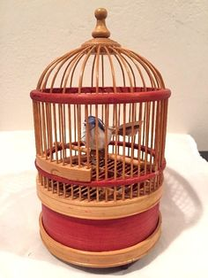 Singing Chirping Bird in Cage, Wind-Up #Unknown