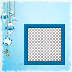 "Layout QP 22C.....Quick Page, Blue, Digital Scrapbooking, Christmas Time Collection, 12"" x 12"", 300 dpi, PNG File Format"