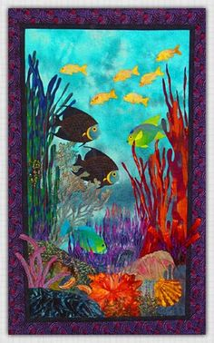 Seascape I art quilt by Marjan Kluepfel