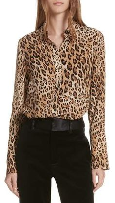 Leopard Print Silk Blouse #silk#slouched#blouse