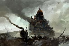 """London from """"Mortal Engines"""" by Ian McQue. More here: http://mcqueconcept.blogspot.com/"""