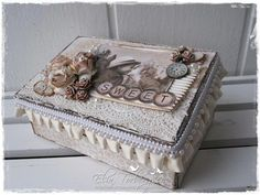 "Altered box by LLC DT Member Elin Torbergsen, using paper from Maja Design's ""Skall vi ta en fika"" (Coffee) collection."