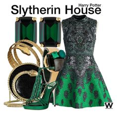 Inspired by Slytherin House from the Harry Potter franchise. Inspired by Slytherin House from the Harry Potter franchise. Harry Potter Dress, Harry Potter Style, Harry Potter Outfits, Nerd Fashion, Fandom Fashion, Fashion Outfits, Runway Fashion, Fashion Women, Dandy