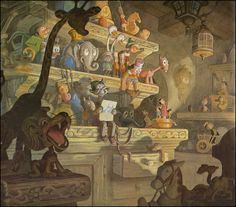 background paintings by Claude Coats for Walt Disney's movie, Pinocchio.