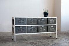 4 x 2 Vintage Locker Basket Unit with Natural by RehabVintageLA, $1,200.00