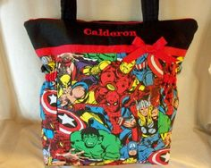 Marvel Super Hero handmade duffle diaper bag or tote bag great for all Hulk Spiderman Captain American and more