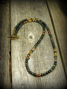 Beaded Necklace Mens Necklace Green Jasper by StoneWearDesigns
