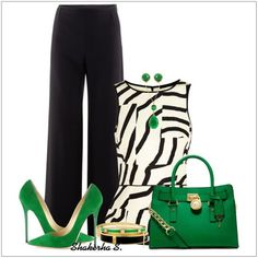 CHATA'S DAILY TIP: Update your classic black pants with an on-trend monochrome print. The slight peplum is the perfect style to either highlight your waist or camouflage your rounded tummy. A pop of emerald green for colour is so stylish. COPY CREDIT: Chata Romano Image Consultant, Karyn Lindes http://chataromano.com/consultant/karyn-lindes/ IMAGE CREDIT: Pinterest. #chataromano #imageconsultant #colour #style #fashion