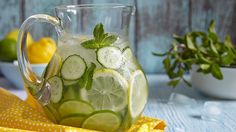 Photo about Fruit water with lemon, lime, cucumber and mint in glass pitcher. Image of juicy, lime, lemonade - 54555252 Fruit Water, Lemon Water, Mint Detox Water, Cafe Shop Design, Sassy Water, Getting Rid Of Bloating, Infused Water Recipes, Lemon Lime, Flat Abs