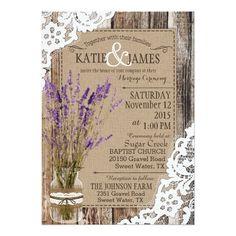 Lavender Wood Lace Rustic Wedding Card