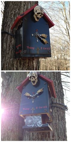 Well this is an interesting looking #geocache. You have to use the 3 golden numbers on the clock to unlock a lock on the bottom and access the cache. (pinned from websta to Creative Geocache Containers - pinterest.com/islandbuttons/creative-geocache-containers/)