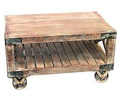 Tavolo da fumo in legno riciclato Industrial - 90x48x60 cm